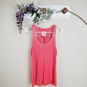 Chaser Knit Ruffled Pink Racerback Tank Top